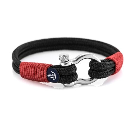 Браслет чёрно-красного цвета для мужчин и женщин — №3042 R