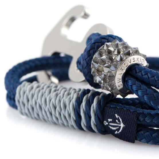 Синий женский браслет с серебристым якорем — SWAROVSKI 7208