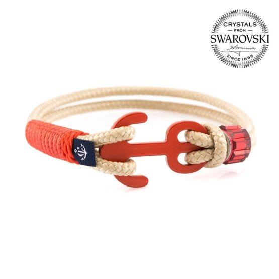 Бежевый женский браслет с красным якорем  — SWAROVSKI 7209