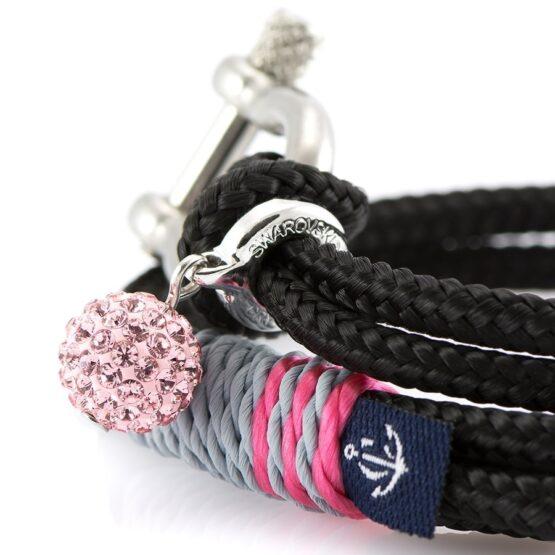 Женский чёрный браслет с камнем Сваровски — SWAROVSKI 7217