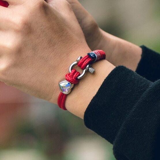 Женский красный браслет с камнем сваровски — № 7218 фото 5