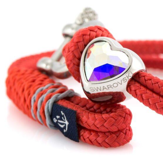Женский красный браслет с камнем Сваровски — SWAROVSKI 7218