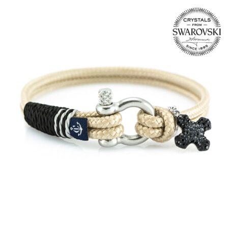 Женский бежевый браслет с чёрным камнем — SWAROVSKI 7236
