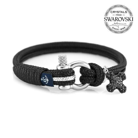 Женский чёрный браслет с камнем Сваровски — SWAROVSKI 7237