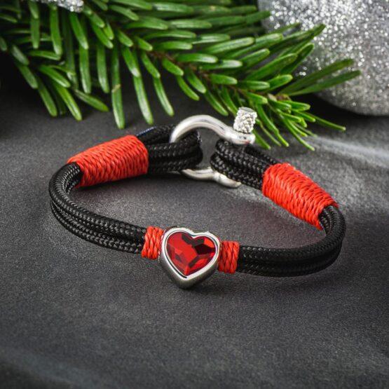 Женский чёрно-красный браслет с камнем сваровски — № 7251