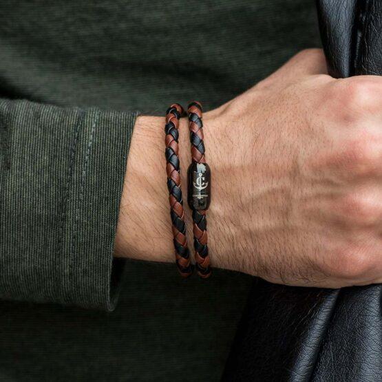 Двойной кожаный браслет коричнево-чёрного цвета с магнитным замком № 05 фото 3