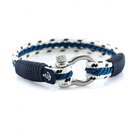 Белый Морской Браслет с синим шнурком Унисекс — YACHTING #5101