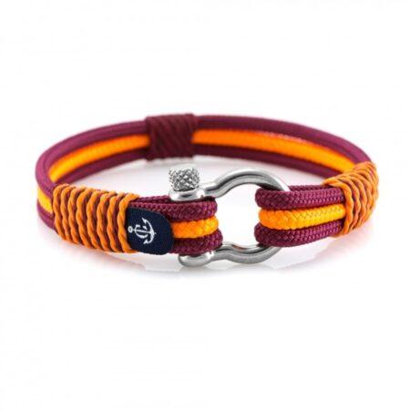 Бордого-оранжевый морской браслет для мужчин и женщин — № 5105