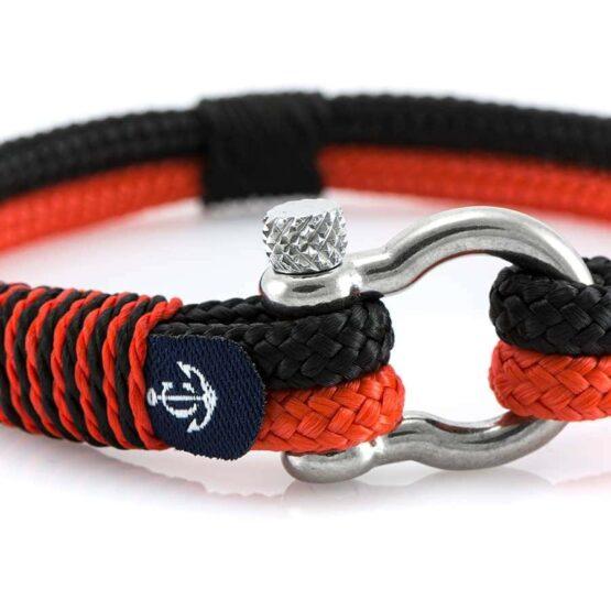 Красно-чёрный тонкий браслет для мужчин и женщин — № 5107 фото 2
