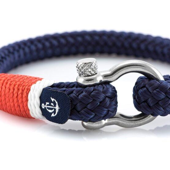 Темно-синий браслет с красным и белым акцентом для мужчин — № 5110 фото 2