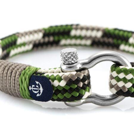 Комбинированный серо-зеленый мужской браслет — № 5111 фото 2