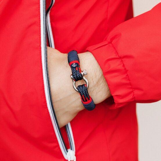 Темно-синий браслет с красным акцентом — № 5112