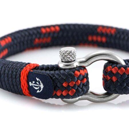 Темно-синий мужской браслет с красным акцентом — № 5112 фото 2