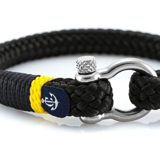 Черный мужской браслет с желтым акцентом — № 5113 фото 2