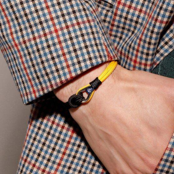 Тонкий морской чёрный-жёлтый браслет — № 716