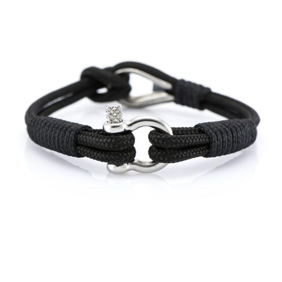 Чёрный браслет морской тематики Унисекс — THIMBLE 718 SLIM