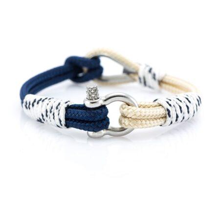 Женский Сине-Бежевый браслет с белой оплёткой морской тематики — THIMBLE 721 SLIM