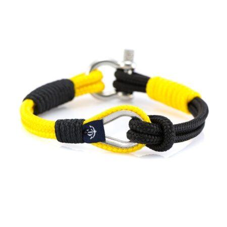Тонкий морской чёрный-жёлтый браслет — № 723