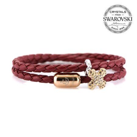 Женский бордовый кожаный браслет с камнем — SWAROVSKI 7255