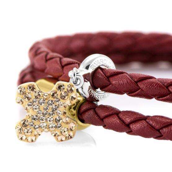 Женский бордовый кожаный браслет с камнем SWAROVSKI — 7255