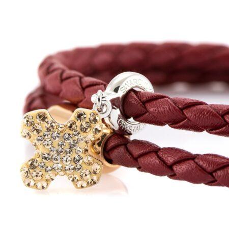 Женский бордовый кожаный браслет с камнем SWAROVSKI — 7255 фото 2