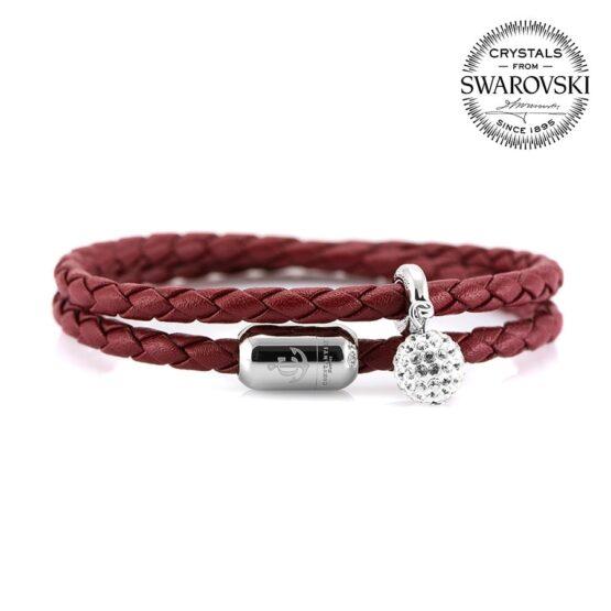 Бордовый двойной кожаный женский браслет — SWAROVSKI 7256