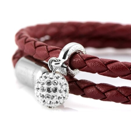 Женский кожаный браслет с камнем Swarovski — № 7256