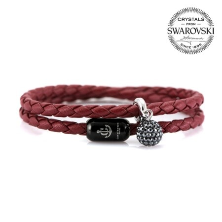 Женский двойной кожаный браслет бордового цвета — SWAROVSKI 7257