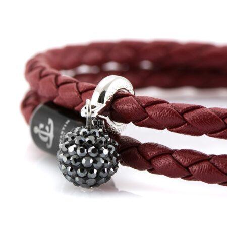 Женский двойной кожаный браслет бордового цвета — SWAROVSKI 7257 фото 2