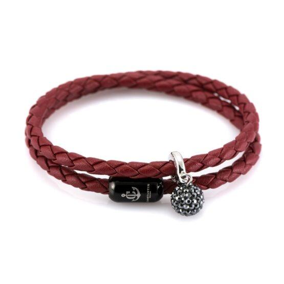 Женский двойной кожаный браслет бордового цвета — SWAROVSKI 7257 фото 3