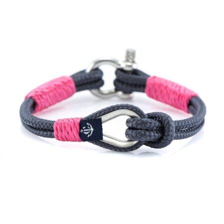 Женский Тёмно-Серый браслет с розовыми нитями морской тематики — THIMBLE 729 SLIM