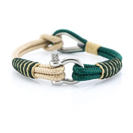 Мужской Бежево-Зелёный браслет морской тематики — THIMBLE 733 SLIM