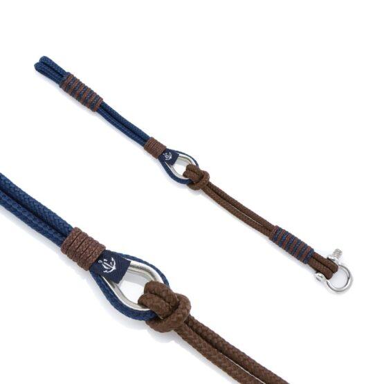 Мужской коричнево-синий браслет морской тематики — THIMBLE 737 SLIM
