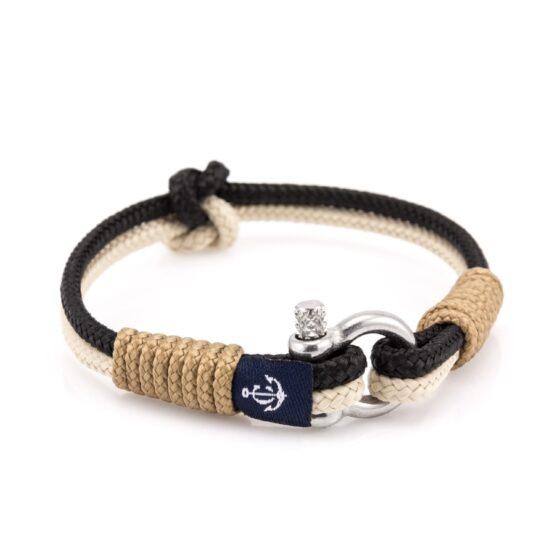 Бежевый-черный тонкий браслет для мужчин и женщин — SLIM 801 R