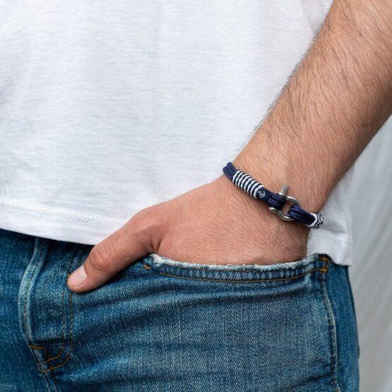 Тёмно-Синий браслет с белой окантовкой — № 875 фото 4