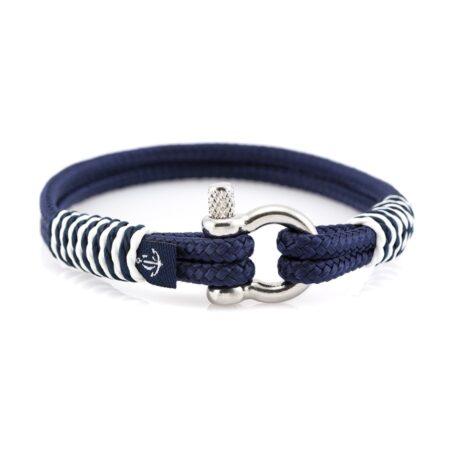 Тёмно-Синий браслет с белой окантовкой — № 875