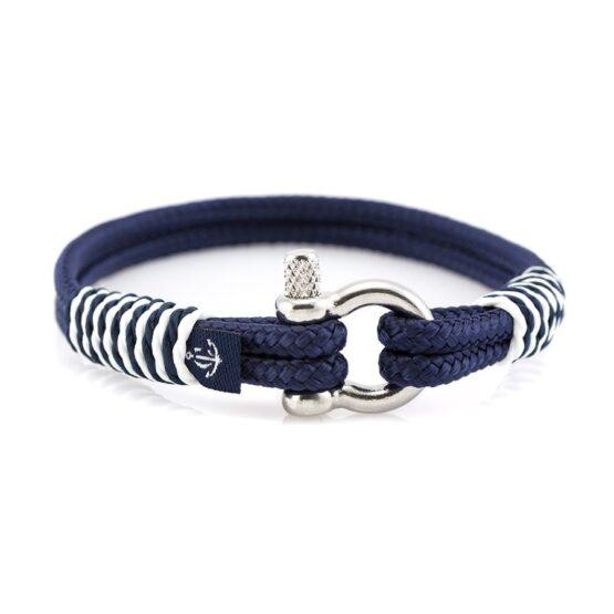 Тёмно-Синий браслет морской тематики с белой окантовкой Унисекс — CNB SLIM 875