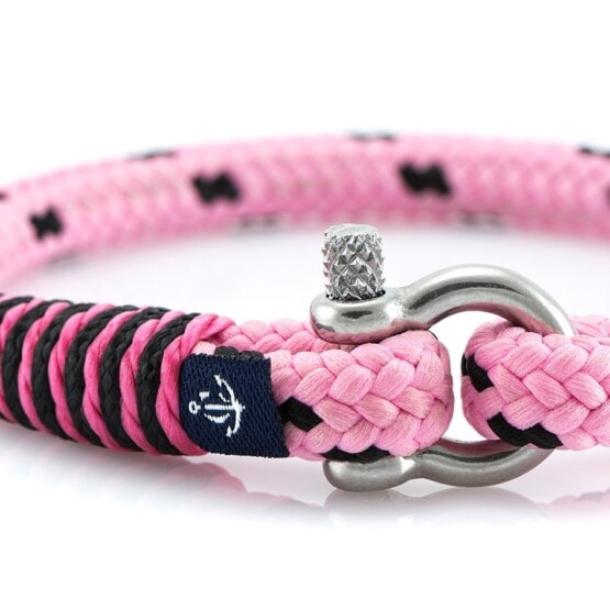 Тонкий розовый браслет с чёрным акцентом для женщин — № 882 фото 2