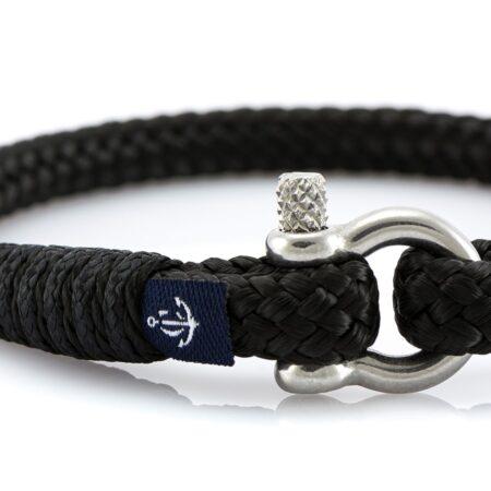 Тонкий чёрный браслет для мужчин и женщин — № 888 фото 2