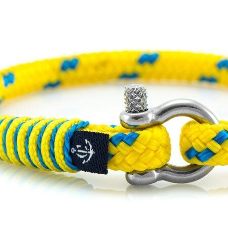 Тонкий жёлтый браслет с синим акцентом для женщин — № 878 фото 2