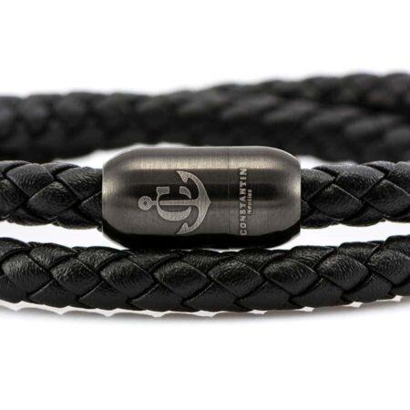 Черный кожаный браслет с магнитной застежкой LTD 03