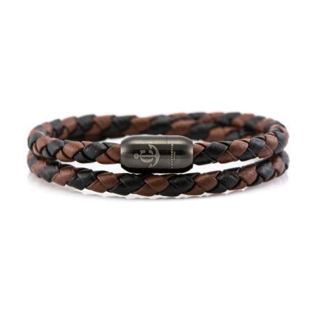 Двойной кожаный браслет коричнево-чёрного цвета с магнитным замком № 04