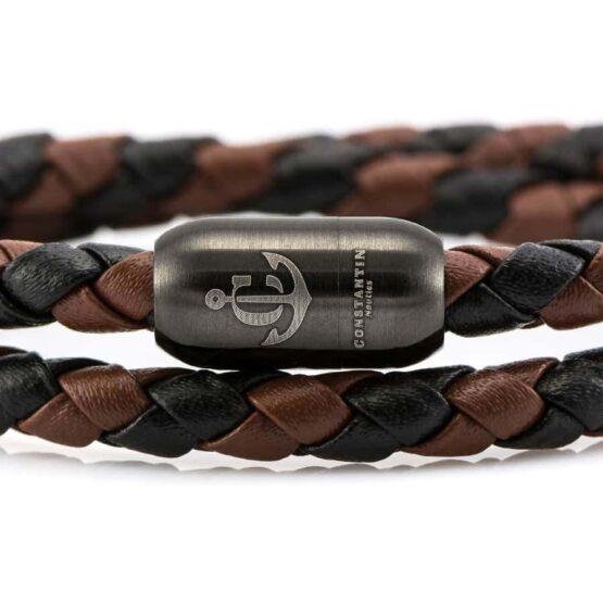 Кожаный браслет коричневого и черного цвета с магнитным замком LTD 05