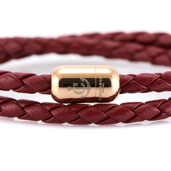 Двойной бордовый кожаный браслет для женщин с серебристым магнитом CNJ #10063 (Copy)