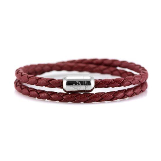 Двойной бордовый кожаный браслет для женщин с серебристым магнитом CNJ #10063