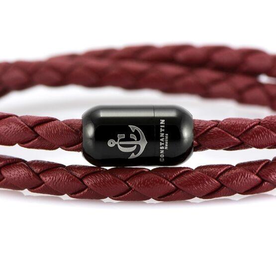 Двойной бордовый кожаный браслет для женщин с магнитом CNJ #10064