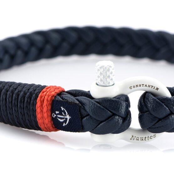 Темно-синий тонкий кожаный браслет для мужчин и женщин — Jack Tar 10065