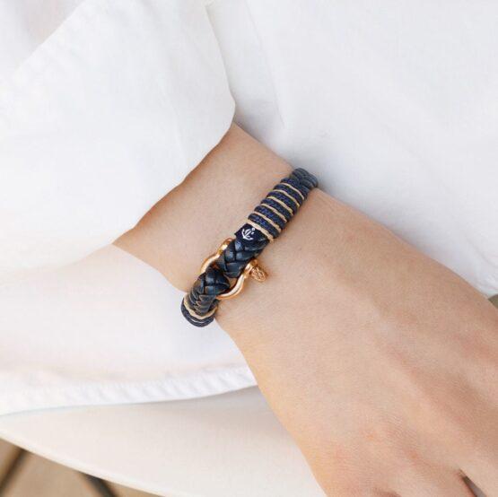 Темно-синий тонкий кожаный браслет для мужчин и женщин — № 10066