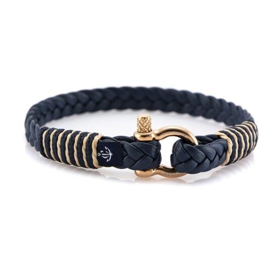 Темно-синий тонкий кожаный браслет для мужчин и женщин — Jack Tar 10066