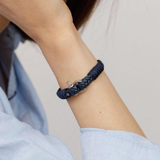 Темно-синий тонкий кожаный браслет для мужчин и женщин — № 10067